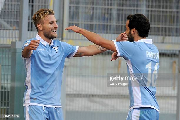Ciro Immobile Of SS Lazio Scores SS Lazio second and celebrates with Marco Parolo during the Serie A match between SS Lazio and US Sassuolo at Stadio...