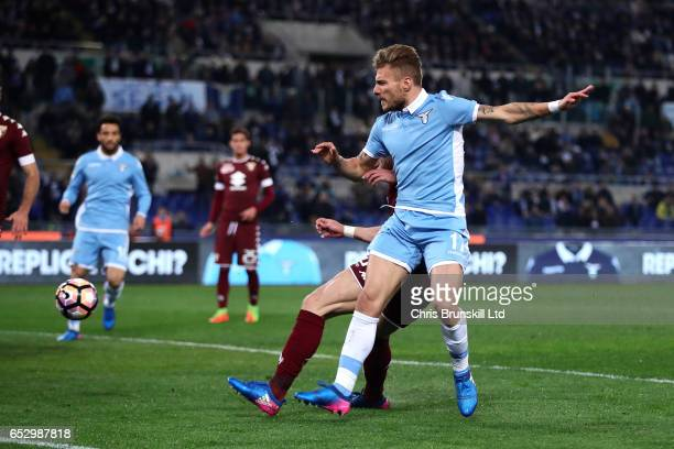Ciro Immobile of SS Lazio scores the opening goal during the Serie A match between SS Lazio and FC Torino at Stadio Olimpico on March 13 2017 in Rome...
