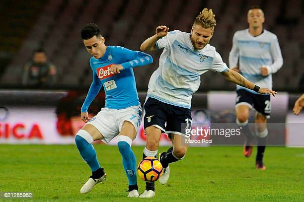 Ciro Immobile of SS Laziocompete for the ball with Jos Maria Callejon of SSC Napoli during the Serie A match between SSC Napoli and SS Lazio at...