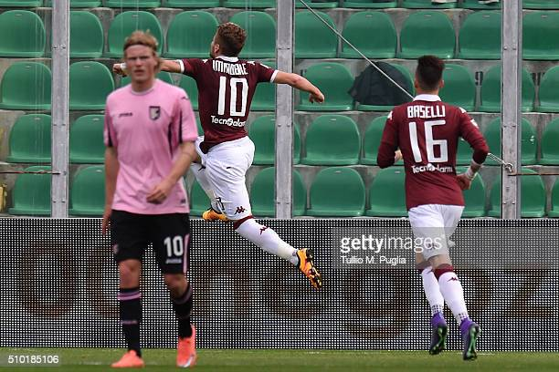 Ciro Immobile of Torino celebrates after scoring the equalising goal from the penalty spot during the Serie A match between US Citta di Palermo and...