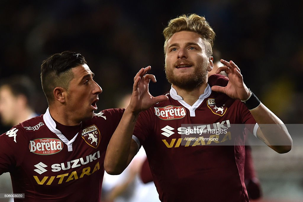 Ciro Immobile of Torino FC celebrates a disallowed goal from the penalty spot during the Serie A match between Torino FC and Frosinone Calcio at...