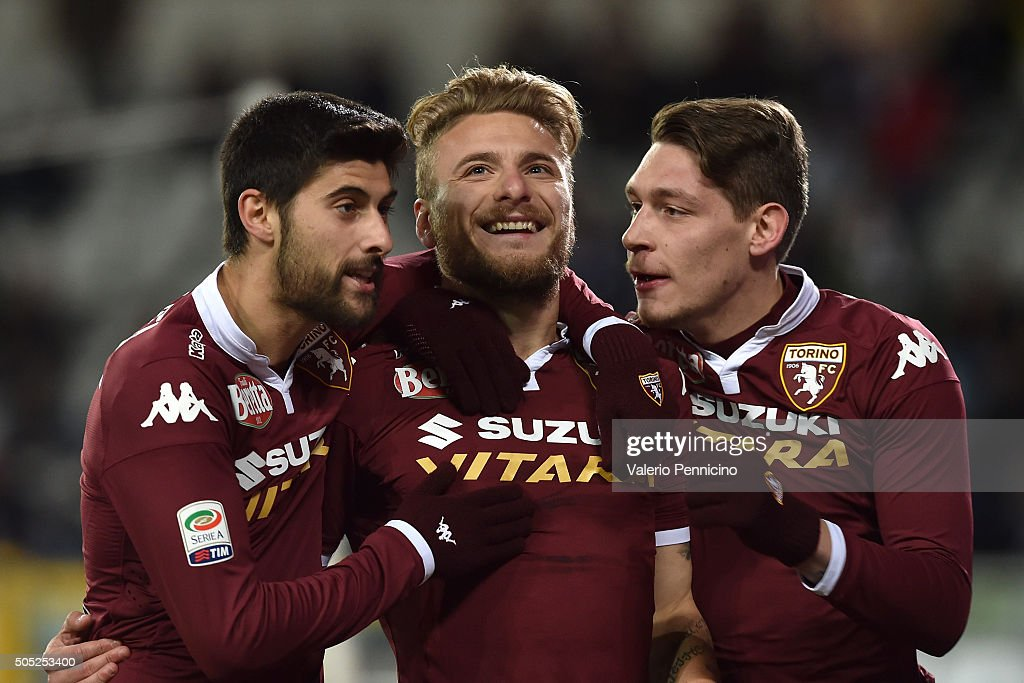 <a gi-track='captionPersonalityLinkClicked' href=/galleries/search?phrase=Ciro+Immobile&family=editorial&specificpeople=5820229 ng-click='$event.stopPropagation()'>Ciro Immobile</a> (C) of Torino FC celebrates after scoring the opening goal with team mates <a gi-track='captionPersonalityLinkClicked' href=/galleries/search?phrase=Marco+Benassi&family=editorial&specificpeople=8613418 ng-click='$event.stopPropagation()'>Marco Benassi</a> (L) and <a gi-track='captionPersonalityLinkClicked' href=/galleries/search?phrase=Andrea+Belotti&family=editorial&specificpeople=11362482 ng-click='$event.stopPropagation()'>Andrea Belotti</a> during the Serie A match between Torino FC and Frosinone Calcio at Stadio Olimpico di Torino on January 16, 2016 in Turin, Italy.