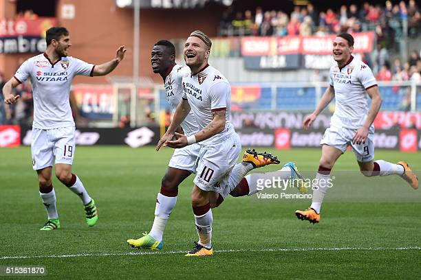 Ciro Immobile of Torino FC celebrates after scoring the opening goal with team mates during the Serie A match between Genoa CFC and Torino FC at...