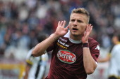 Ciro Immobile of Torino FC celebrates his goal during the Serie A match between Torino FC and Udinese Calcio at Stadio Olimpico di Torino on April 27...
