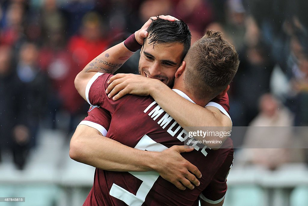 <a gi-track='captionPersonalityLinkClicked' href=/galleries/search?phrase=Ciro+Immobile&family=editorial&specificpeople=5820229 ng-click='$event.stopPropagation()'>Ciro Immobile</a> (R) of Torino FC celebrates his goal with team-mate Nikola Maksimovic during the Serie A match between Torino FC and Udinese Calcio at Stadio Olimpico di Torino on April 27, 2014 in Turin, Italy.