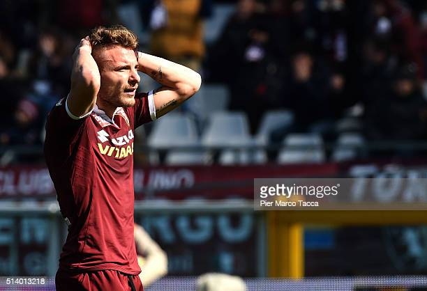 Ciro Immobile of Torino FC is desperate for penalty miss during the Serie A match between Torino FC and SS Lazio at Stadio Olimpico di Torino on...