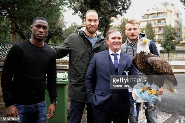 Ciro Immobile olimpia eagle symbol of Ss Lazio Quissanga Bastos and Ivan Vargic of SS Lazio players meet school students on February 9 2017 in Rome...