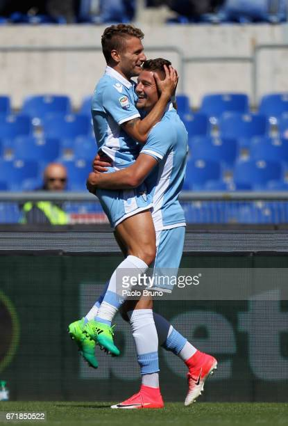 Ciro Immobile with his teammate Sergej Milinkovic of SS Lazio celebrates after scoring the team's second goal during the Serie A match between SS...