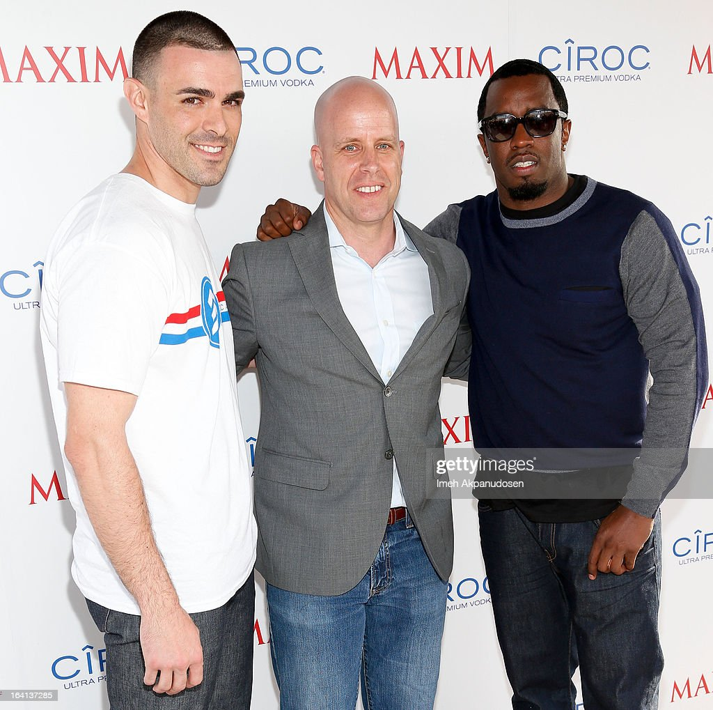 Ciroc Americano military ambassador Christopher Minaya, Maxim magazine president Ben Madden, and producer/entrepreneur <a gi-track='captionPersonalityLinkClicked' href=/galleries/search?phrase=Sean+Combs&family=editorial&specificpeople=178993 ng-click='$event.stopPropagation()'>Sean Combs</a> attends the Ciroc and Maxim celebration of the National Day of Honor at Marine Corps Air Station on March 19, 2013 in San Diego, California.