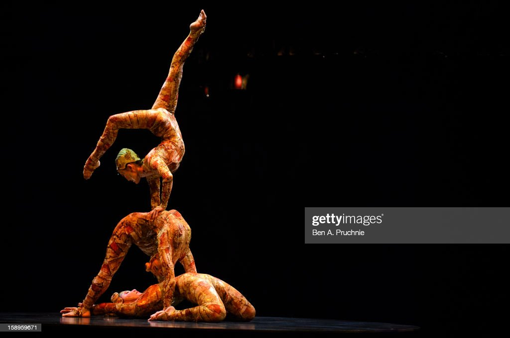 Cirque Du Soleil acrobats perform during the dress rehearsal of Cirque Du Soleil Kooza, at Royal Albert Hall on January 4, 2013 in London, England.