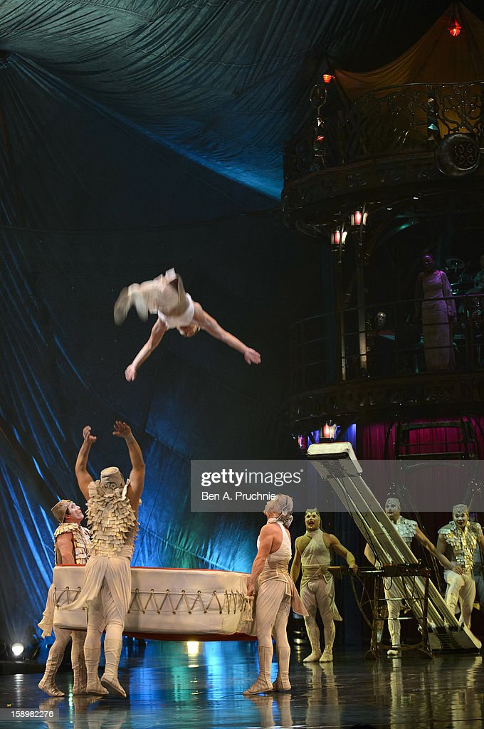 Cirque du Soleil acrobats perform during the dress rehearsal of Cirque du Soleil at Royal Albert Hall on January 4, 2013 in London, England.