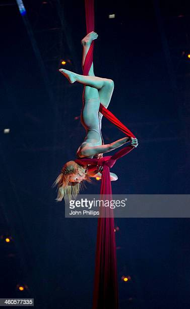 Cirque du Soleil acrobats perform during the dress rehearsal of Cirque du Solei's 'Quidam' at Royal Albert Hall on January 4 2014 in London England