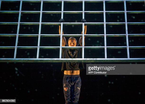 A Cirque Du Soleil artist performs during a rehearsal before the premiere of the show 'Soda Stereo Septimo Dia' in Monterrey Nuevo Leon Mexico on...