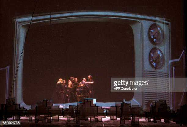 Cirque Du Soleil artists perform during a rehearsal before the premiere of the show 'Soda Stereo Septimo Dia' in Monterrey Nuevo Leon Mexico on...
