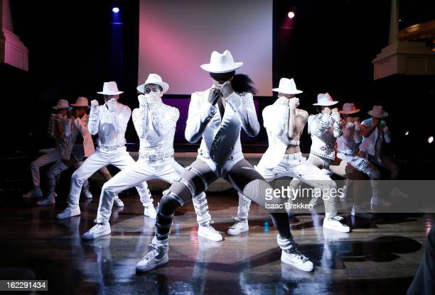 Cirque du Soleil dancers interrupt a news conference announcing 'Michael Jackson ONE' with a performance at the Mandalay Bay Resort Casino on...