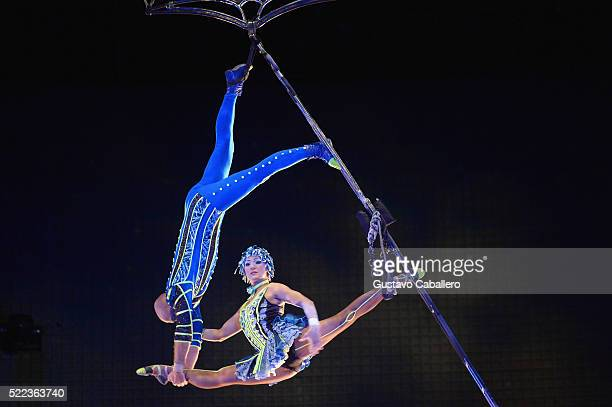 Cirque du Soleil New Acts Aerial Bamboo and BBoys attends the Walt Disney World Awaken Summer Media Preview on April 18 2016 in Orlando Florida