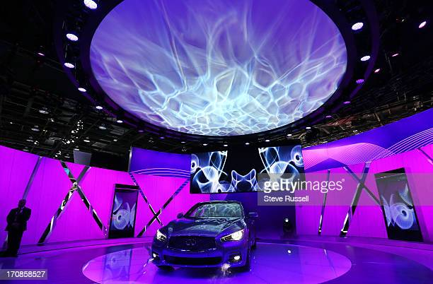 Cirque du Soleil unveils the Infiniti Q50 at the North American International Auto Show at Cobo Center in Detroit January 14 2013 STEVE...