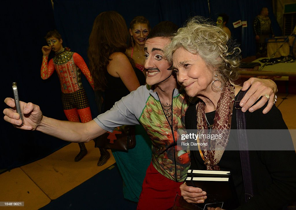 Cirque performer and 'The Hunger Games: Catching Fire' cast member Lynn Cohen backstage after the Cirque du Soleil TOTEM Premiere at Atlantic Station on October 26, 2012 in Atlanta, Georgia.