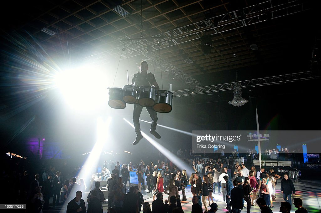 Cirque USA aerial artists perform during the Tenth Annual Leather & Laces Super Bowl Party Hosted By Kendra Wilkinson, Jenny McCarthy, Stephanie Pratt, Audrina Patridge on February 1, 2013 in New Orleans, Louisiana.