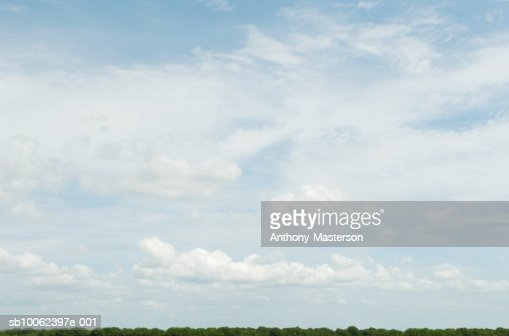 Cirrus and Cumulus clouds over  tree lined horizon : Stock Photo