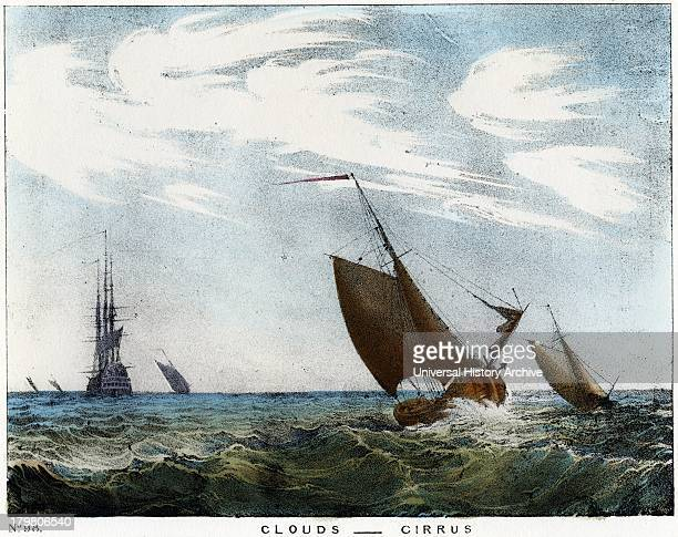 Cirrus clouds over a seascape Coloured lithograph 1845