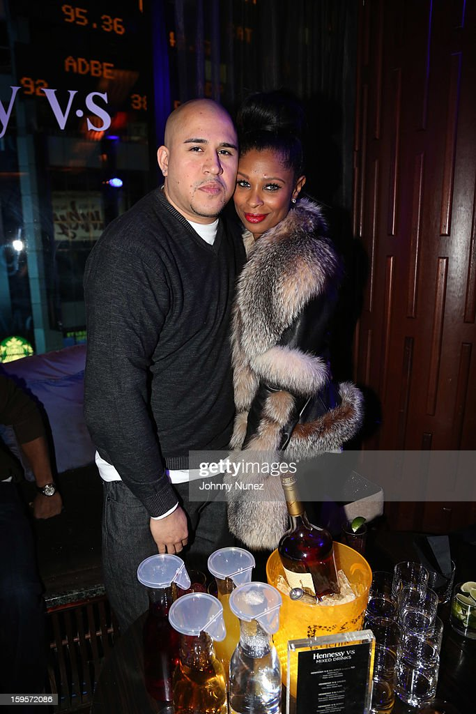 Cisco Rosado and Jennifer Williams attend Hennessy vs Introduces Nas As Newest Partner at R Lounge at the Renaissance New York Times Square Hotel on January 15, 2013 in New York City.