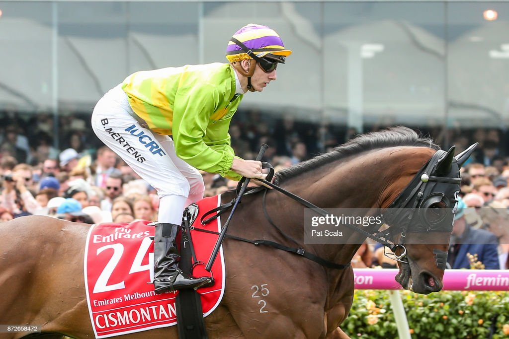 Cismontane (NZ) ridden by Beau Mertens heads to the barrier before the Emirates Melbourne Cup at Flemington Racecourse on November 07, 2017 in Flemington, Australia.
