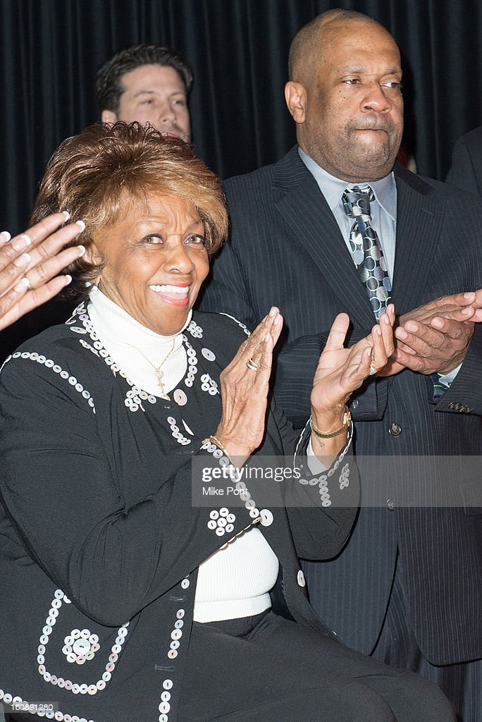 Cissy Houston (Left) attends Madame Tussauds Whitney Houston Wax Unveiling at Madame Tussauds on February 7, 2013 in New York City.