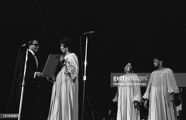 Cissy Houston Myrna Smith and Estelle Brown of the vocal group 'The Sweet Inspirations' perrform onstage on December 31 1968
