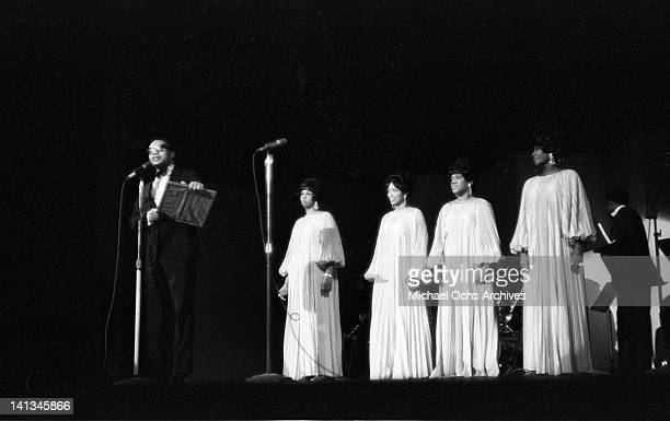 Cissy Houston Myrna Smith Estelle Brown and Sylvia Shemwell of the vocal group 'The Sweet Inspirations' perform onstage on December 31 1968