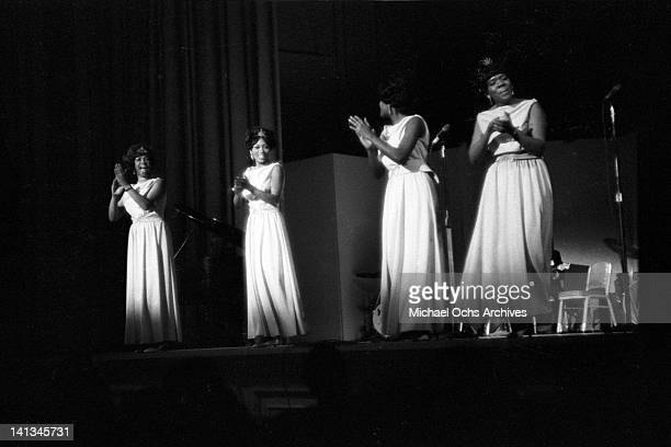 Cissy Houston Myrna Smith Sylvia Shemwell and Estelle Brown of the vocal group 'The Sweet Inspirations' perform onstage on December 31 1968