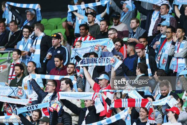 Cit fans show their support during the round three ALeague match between Melbourne City and the Wellington Phoenix at AAMI Park on October 21 2017 in...