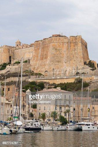 Citadel and Haute Ville over marina, Bonifacio, Corsica, France