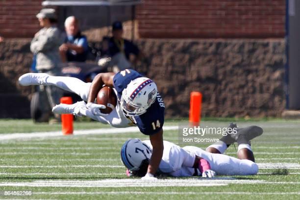 Citadel Bulldogs defensive back Kailik Williams knocks Chattanooga Mocs running back Darrell Bridges into the air on a tackle The Citadel Bulldogs...