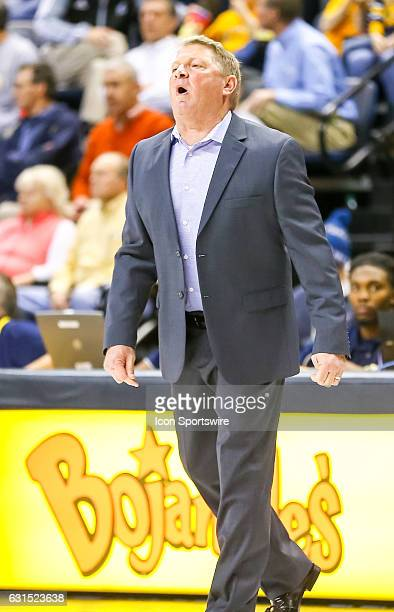 Citadel Bulldogs head coach Duggar Baucom reacts to a play during the first half of the NCAA basketball game between The Citadel Bulldogs and the UT...