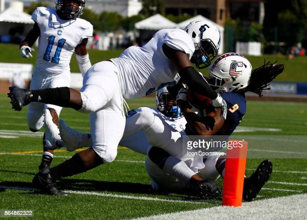 Citadel Bulldogs linebacker Myles Pierce knocks Chattanooga Mocs wide receiver Alphonso Stewart out of bounds just short of the goal line The Citadel...