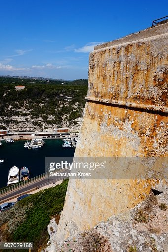 Citadel Wall and Boats in Harbour, Bonifacio, France