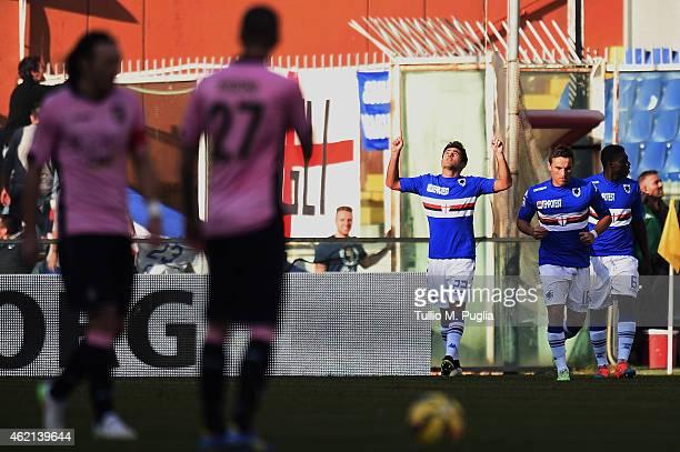 Citadin Eder of Sampdoria celebrates after scoring the opening goal during the Serie A match between UC Sampdoria and US Citta di Palermo at Stadio...