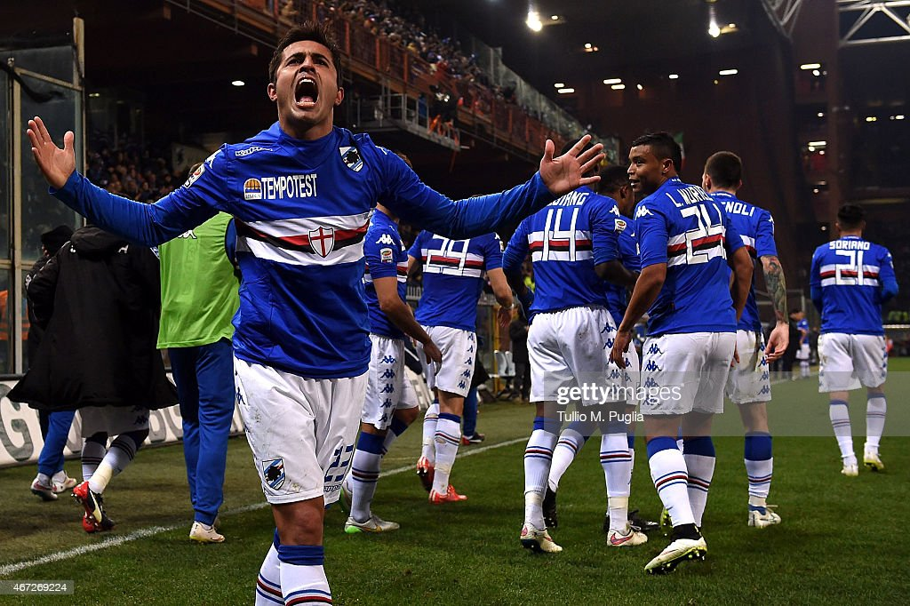 Citadin Eder of Sampdoria celebrates after scoring the opening goal during the Serie A match between UC Sampdoria and FC Internazionale Milano at...