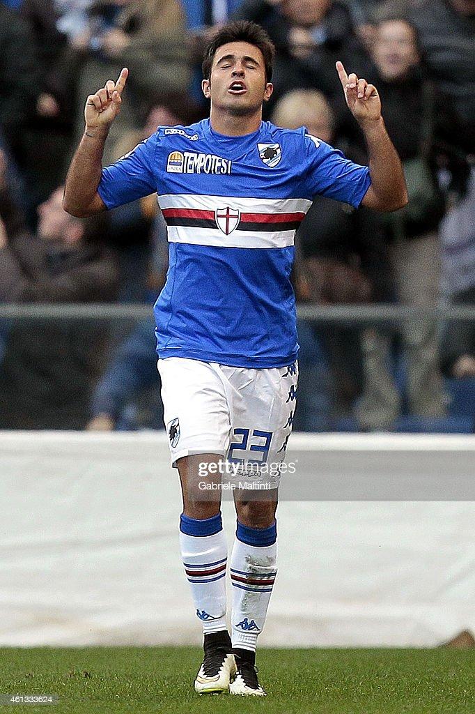 Citadin Eder of UC Sampdoria celebrates after scoring a goal during the Serire A match between UC Sampdoria and Empoli FC at Stadio Luigi Ferraris on...