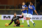 Citadin Eder of US Sampdoria battles for the ball with Riccardo Saponara of Empoli FC during the Serie A match between UC Sampdoria and Empoli FC at...