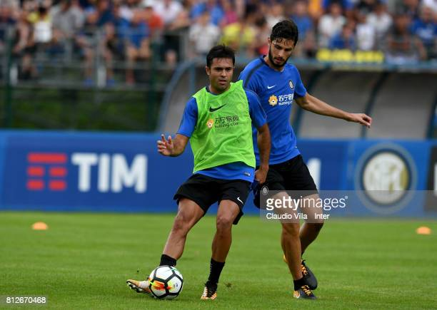 Citadin Martins Eder and Andrea Ranocchia of FC Internazionale compete for the ball during the FC Internazionale training session on July 11 2017 in...