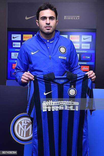 Citadin Martins Eder new signing for FC Internazionale Milano pose with the club shirt during a press conference at the club's training ground on...
