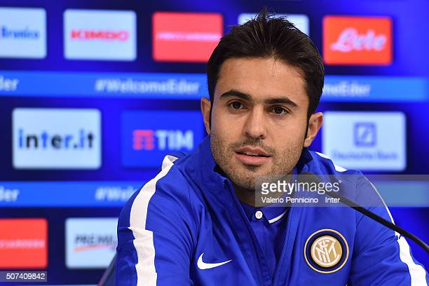 Citadin Martins Eder new signing for FC Internazionale Milano speaks to the media during a press conference at the club's training ground on January...