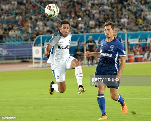 Citadin Martins Eder of FC Internazionale and Benjamin Stambouli of FC Schalke 04 compete for the ball during the preseason friendly match between FC...