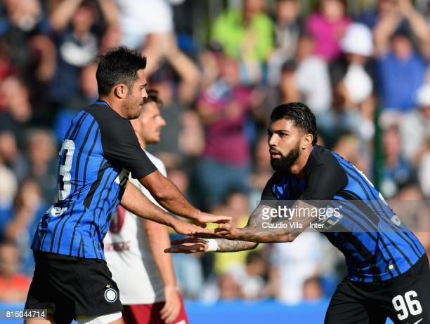 Citadin Martins Eder of FC Internazionale celebrates after scoring a goal during the PreSeason Friendly match between FC Internazionale and Nurnberg...