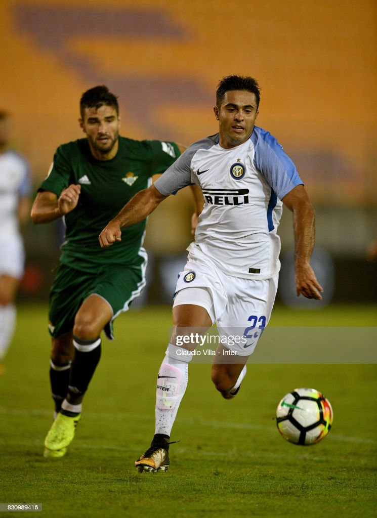 Citadin Martins Eder of FC Internazionale in action during the Pre-Season Friendly match between FC Internazionale and Real Betis at Stadio Via del Mare on August 12, 2017 in Lecce, Italy.