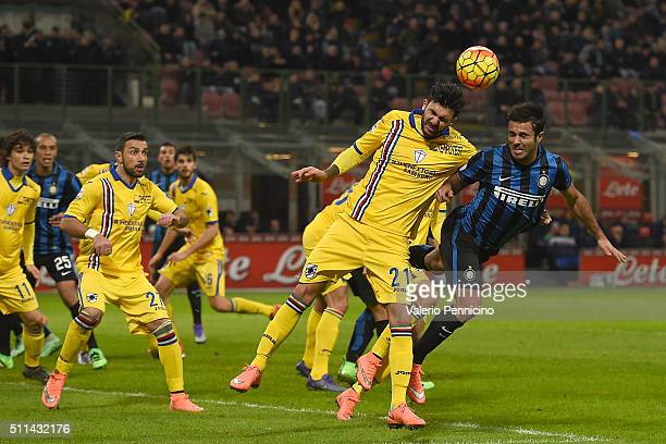 Citadin Martins Eder of FC Internazionale Milano clashes with Roberto Soriano of UC Sampdoria during the Serie A match between FC Internazionale...