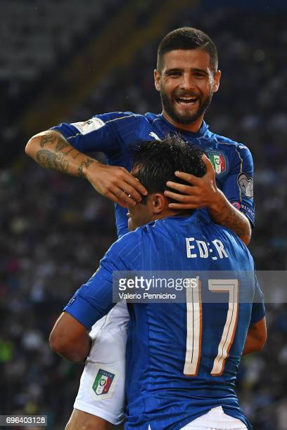 Citadin Martins Eder of Italy celebrates a goal with team mate Lorenzo Insigne during the FIFA 2018 World Cup Qualifier between Italy and...