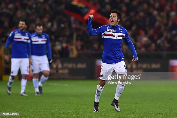 Citadin Martins Eder of UC Sampdoria celebrates a goal during the Serie A match between Genoa CFC and UC Sampdoria at Stadio Luigi Ferraris on...